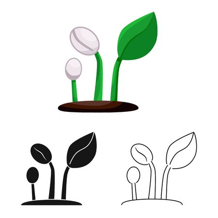 Isolated object of sprout and coffee sign. Collection of sprout and vegetable stock vector illustration.