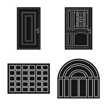 Vector design of door and front logo. Set of door and wooden vector icon for stock.