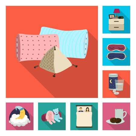 Vector design of dreams and night icon. Set of dreams and bedroom stock symbol for web. Banque d'images - 131097692