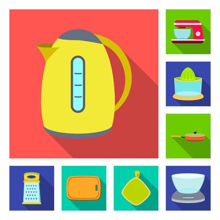 Vector illustration of kitchen and cook symbol. Collection of kitchen and appliance stock vector illustration. Ilustrace