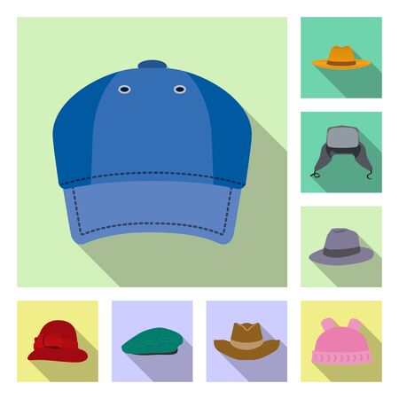 Vector design of headgear and cap logo. Collection of headgear and accessory vector icon for stock. Ilustrace