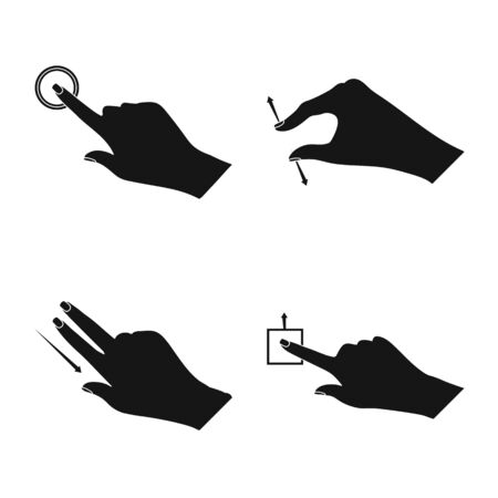 Vector illustration of touchscreen and hand icon. Collection of touchscreen and touch vector icon for stock.