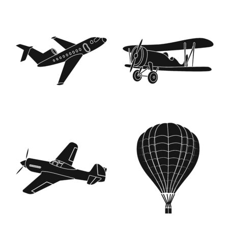 Vector illustration of plane and transport logo. Set of plane and sky stock symbol for web.