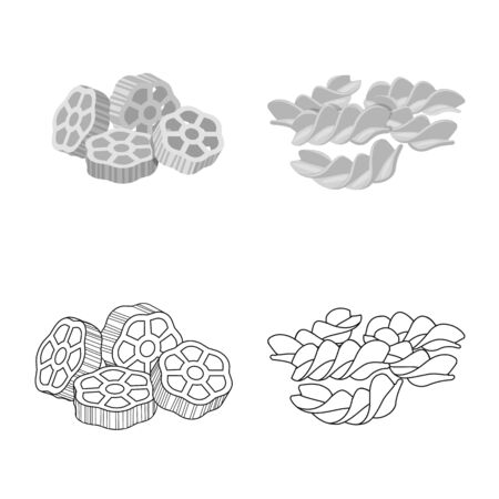 Vector illustration of pasta and carbohydrate icon. Collection of pasta and macaroni stock symbol for web. Vettoriali