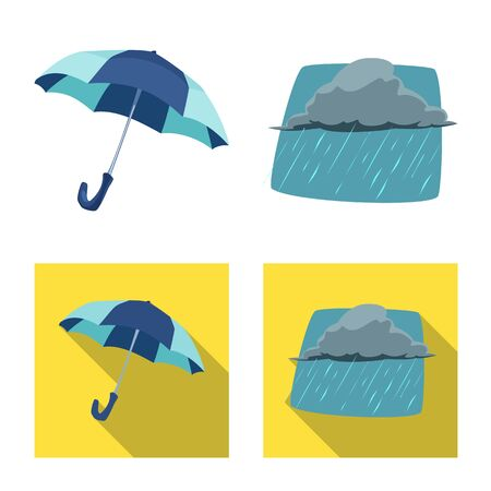 Isolated object of weather and climate logo. Collection of weather and cloud vector icon for stock. Illustration