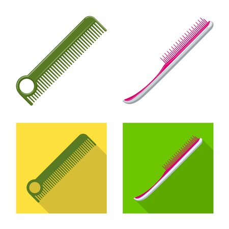 Vector design of brush and hair sign. Set of brush and hairbrush vector icon for stock.  イラスト・ベクター素材