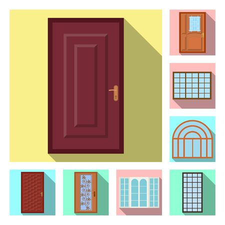Vector design of door and front sign. Collection of door and wooden stock vector illustration.