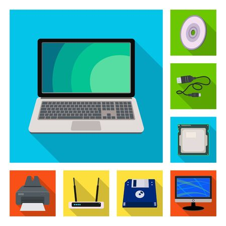 Vector design of laptop and device sign. Set of laptop and server stock symbol for web.