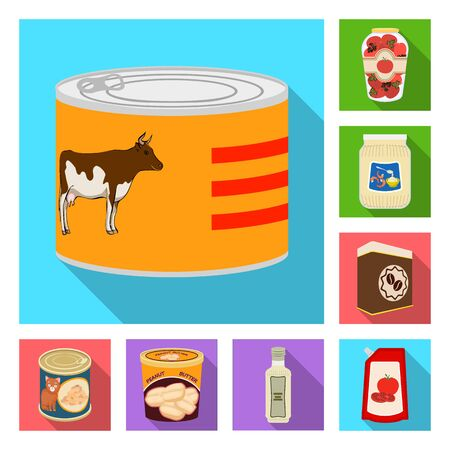 Vector illustration of can and food sign. Set of can and package stock vector illustration.
