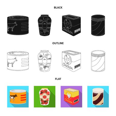 Vector design of can and food icon. Collection of can and package stock symbol for web. Ilustração