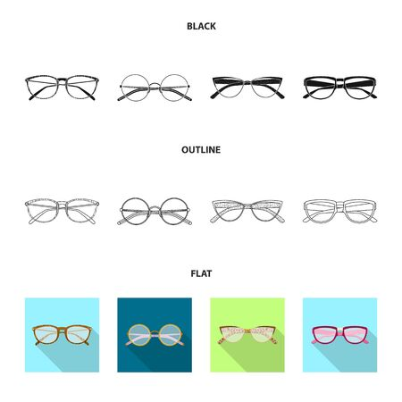 Vector illustration of glasses and frame icon. Set of glasses and accessory stock symbol for web. Иллюстрация