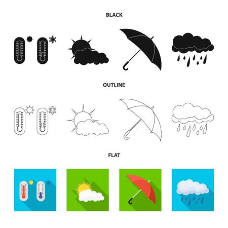 Vector design of weather and climate symbol. Set of weather and cloud stock vector illustration.