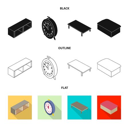 Isolated object of bedroom and room logo. Collection of bedroom and furniture vector icon for stock.