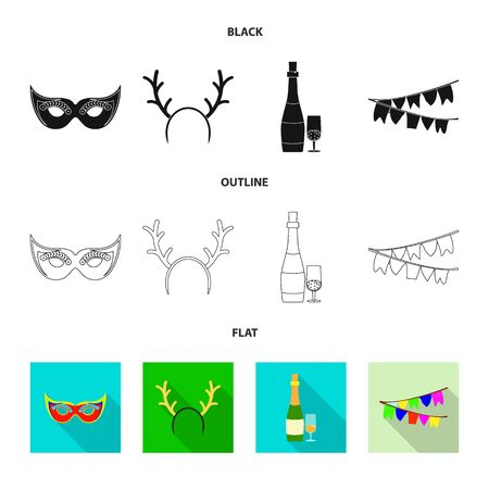 Vector design of party and birthday sign. Collection of party and celebration vector icon for stock. 向量圖像