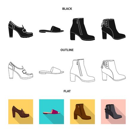 Vector design of footwear and woman sign. Collection of footwear and foot stock vector illustration. Ilustracja