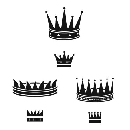Vector illustration of king and majestic sign. Set of king and gold stock symbol for web.