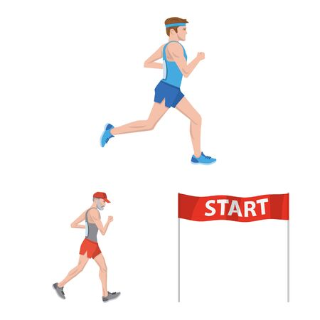Vector illustration of step and sprint symbol. Set of step and sprinter stock vector illustration.