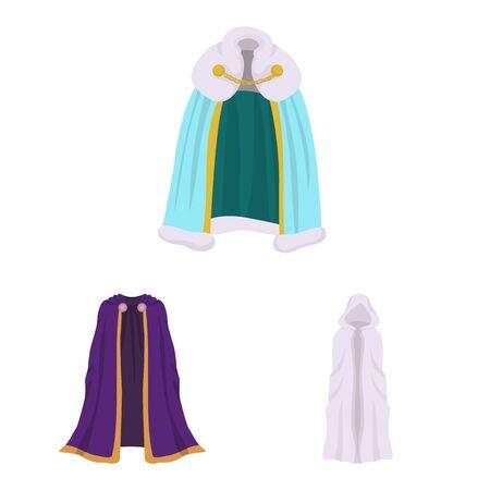 Vector design of cloak and clothes sign. Collection of cloak and garment stock vector illustration. Illusztráció