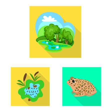 Vector illustration of wildlife and bog sign. Collection of wildlife and reptile stock symbol for web. Çizim
