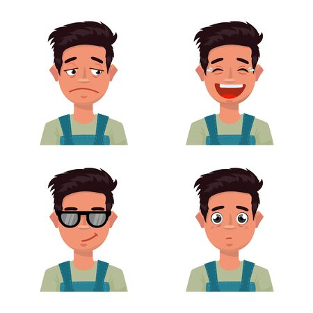 Vector design of face and boy symbol. Set of face and young stock vector illustration.
