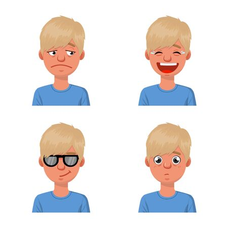 Isolated object of face and boy. Set of face and young stock vector illustration. Illustration