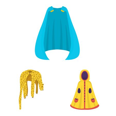 Vector design of cloak and clothes icon. Collection of cloak and garment stock symbol for web. Illusztráció
