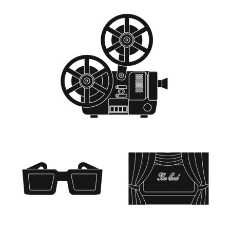 Vector illustration of session and viewing icon. Set of session and theater stock vector illustration. 일러스트