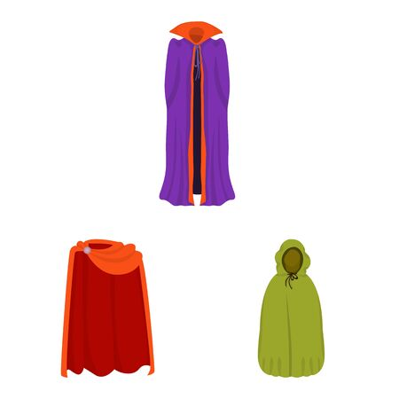 Isolated object of cloak and clothes icon. Set of cloak and garment vector icon for stock. Illusztráció