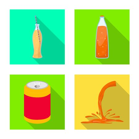 Vector illustration of drink and beverage. Set of drink and liquid vector icon for stock.
