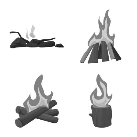 Isolated object of burn and outdoor icon. Collection of burn and tourism stock symbol for web.