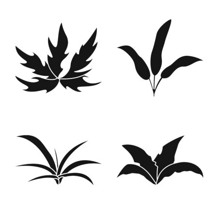 Vector design of nature and environment. Collection of nature and grass stock symbol for web. Illustration