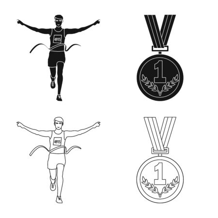 Isolated object of sport and winner. Collection of sport and fitness stock vector illustration.