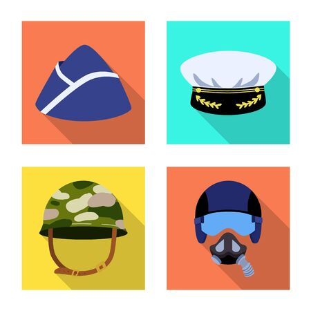 Vector design of headdress and clothing icon. Set of headdress and armed vector icon for stock.