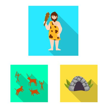 Vector design of evolution and neolithic symbol. Set of evolution and primeval vector icon for stock. Иллюстрация