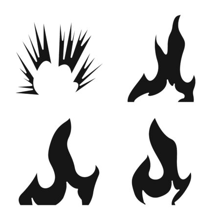 Vector design of blazing and wildfire sign. Set of blazing and red stock vector illustration.
