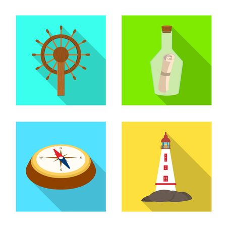 Vector design of travel and attributes icon. Collection of travel and seafaring stock vector illustration.