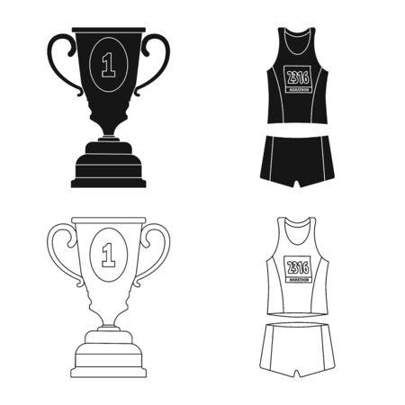 Vector design of sport and winner symbol. Collection of sport and fitness stock symbol for web. 스톡 콘텐츠 - 131119726