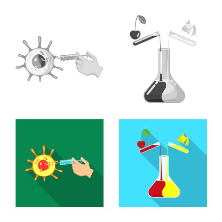 Vector design of test and synthetic icon. Collection of test and laboratory stock vector illustration. Ilustração