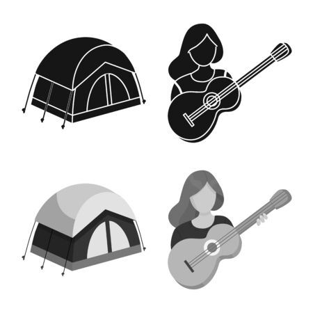 Vector design of trekking and wildlife icon. Collection of trekking and leisure stock symbol for web.