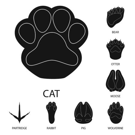 Vector design of feet and fauna sign. Set of feet and print vector icon for stock. Vettoriali