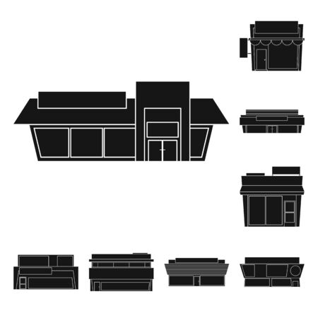 Vector design of architecture and cityscape symbol. Collection of architecture and supermarket stock symbol for web.