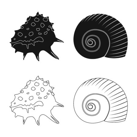 Vector design of animal and decoration symbol. Set of animal and ocean stock symbol for web.