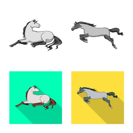 Vector design of breed and equestrian sign. Collection of breed and mare vector icon for stock. Ilustrace