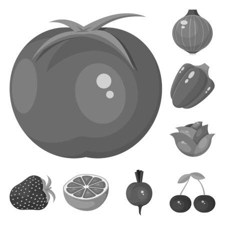 Vector design of natural and harvest sign. Set of natural and red stock vector illustration. Ilustração