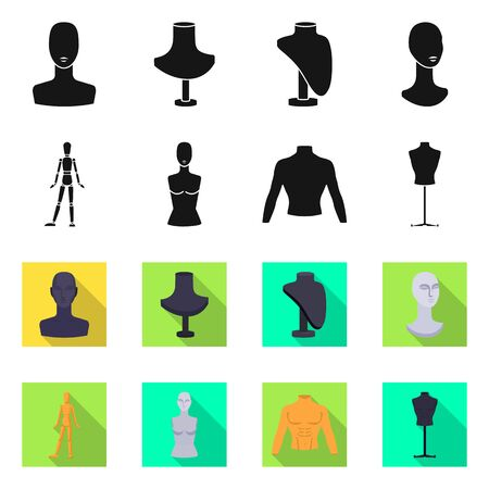 Isolated object of mannequin and fashion symbol. Set of mannequin and atelier stock symbol for web.