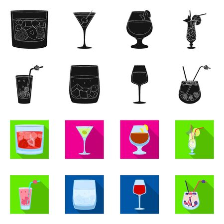 Vector illustration of liquor and restaurant symbol. Collection of liquor and ingredient vector icon for stock.