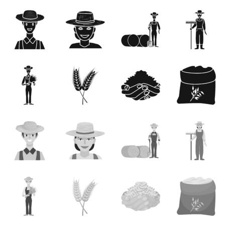 Isolated object of farm and arable. Collection of farm and harvest vector icon for stock. Illustration
