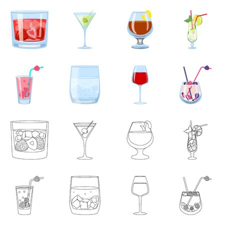 Isolated object of liquor and restaurant. Set of liquor and ingredient vector icon for stock. Stock Illustratie