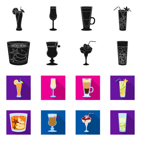 Vector design of liquor and restaurant. Set of liquor and ingredient stock symbol for web.
