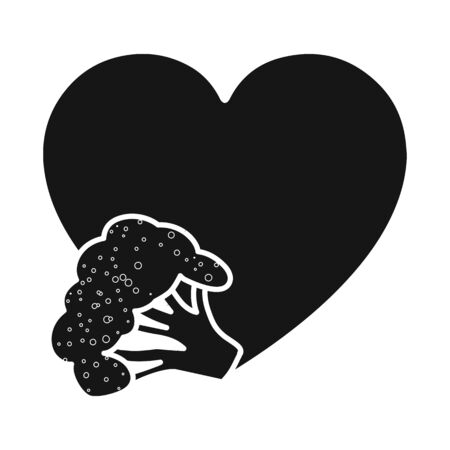 Vector design of broccoli and vegetables. Set of broccoli and heart vector icon for stock. Çizim